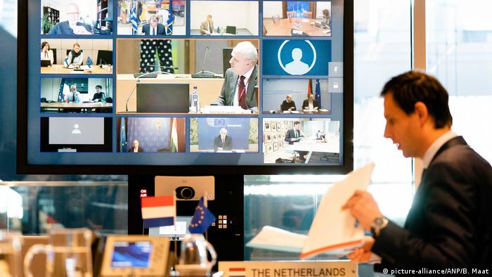 Dutch Minister Wopke Hoekstra spoke during a video conference with EU finance ministers in The Hague