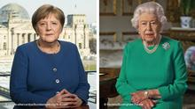 Kombobild Angela Merkel udn Queen Elizabeth bei Corona Ansprache