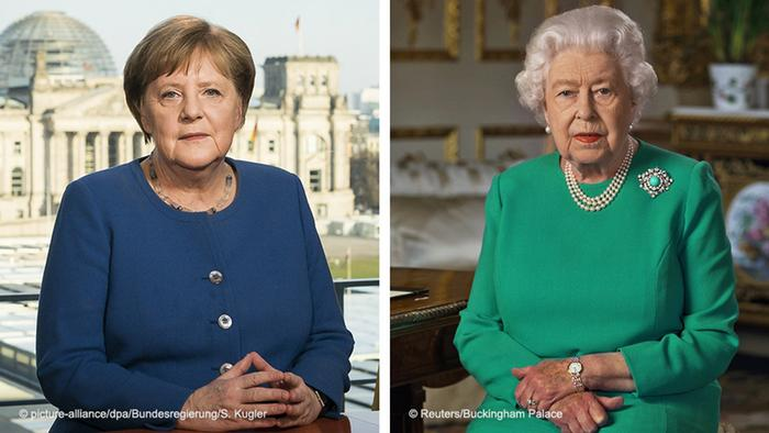 Angela Merkel and Queen Elizabeth II during their television addresses about the coronavirus pandemic