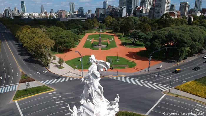 Foto de calles vacías en Buenos Aires