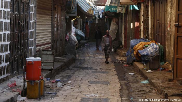 A view of a nearly empty street is seen after precautions against coronavirus are taken pandemic in Sanaa