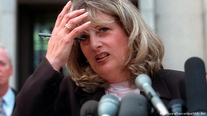 Linda Tripp talks to reporters outside federal court in Washington