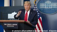 United States President Donald Trump participates in a news briefing with members of the Coronavirus Task Force at the White House on Wednesday, April 8, 2020 in Washington DC. Photo by Chris Kleponis/UPI Photo via Newscom picture alliance |
