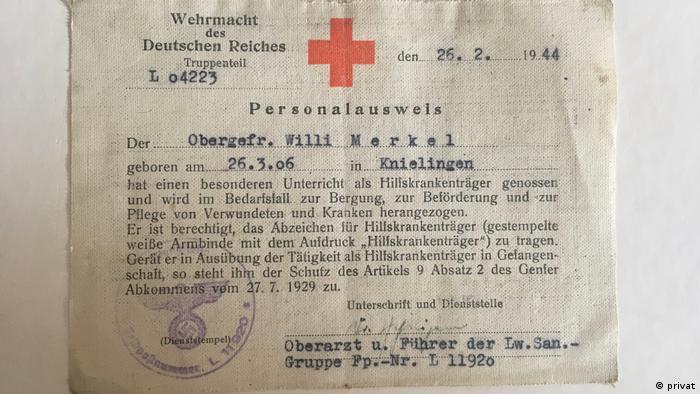 Cédula de identidad de la Wehrmacht de Willi Merkel.