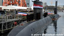A new Thyssen-Krupp S-41 submarine in dock in Kiel; it is bound for Egypt's quasi-military government. (picture-alliance/dpa/C. Rehder)