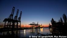 General view shows the container terminals Eurogate and Burchardkai in the harbor of the northern German city of Hamburg on March 26, 2020. - German consumer confidence has hit its lowest level since the last global economic crisis, a key survey found on March 26, 2020, as Europe's top economy braces for the impact of COVID-19. (Photo by MORRIS MAC MATZEN / AFP) (Photo by MORRIS MAC MATZEN/AFP via Getty Images)