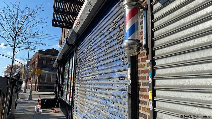 Closed stores on a street in New York