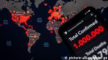 Hamburg, 28. März 2020 - Corona-Karte der Johns Hopkins University +++ Hinweis: Die abgebildeten Zahlen wurden zur Illustration manipuliert. +++ | Verwendung weltweit