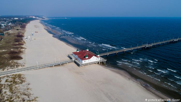 A beach and pier in Ahlbeck