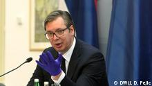 Nis. 10.04. 2020. Serbian President Aleksandar Vucic visited Nis today and on that occasion delivered the necessary medical equipment to the south of Serbia