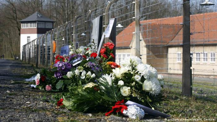 Wreaths lain at Buchenwald on the 75th anniversary of its liberation