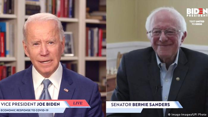 USA Biden und Sanders (Imago-Images/UPI Photo)