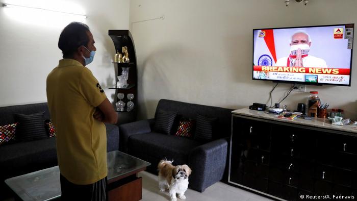 Indien Premierminister Narandra Modi bei der TV Ansprache zum Lockdown