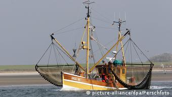 North Sea fishing boat with shrimping nets