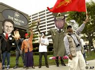Demonstrators in Los Angeles in 2004, hoping to persuade Unocal to leave Myanmar, where it was accused of profiting from human rights abuses during a pipeline project.