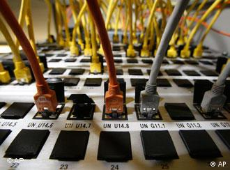 Network cables plugged into a server