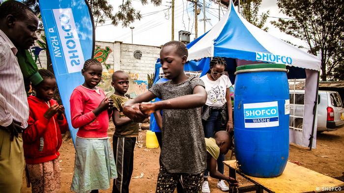 Children washing their hands