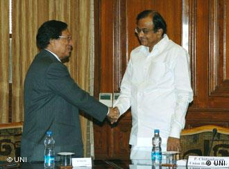 Naga separatist leader T. Muivah with the Union Home Minister P Chidambaram, in New Delhi in March 2010