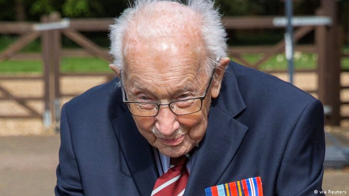 Retired British Army Captain Moore walks to raise money for health workers