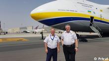 Ukrainische Piloten Jaroslaw Koschitzki (links) und Anatoli Ruschanski. in Kiew, April 2020