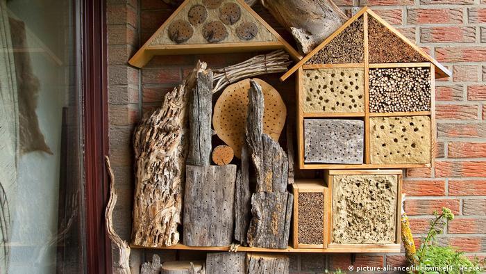 Otra forma de apoyar la biodiversidad local es proporcionar refugio a los insectos. Una vez más, no necesariamente requiere de un jardín. Puede hacer la estructura tan grande o pequeña como desee, dependiendo de si es para un patio o un pequeño balcón. Trozos viejos de madera, ladrillos, hojas secas, paja y otros materiales naturales son útiles para ponerse manos a la obra.
