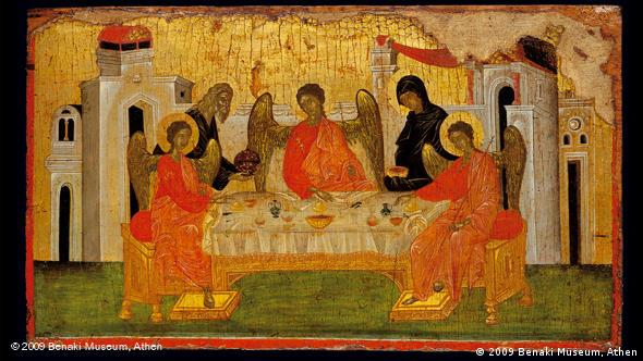 Икона ''Гостеприимство Авраама''. Последняя четверть 14 века, темпера, золото, дерево. Музей Бенаки, Афины