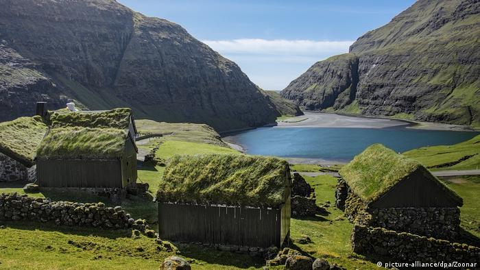 Houses with grass roofs in Saksun village on the Faroe Islands
