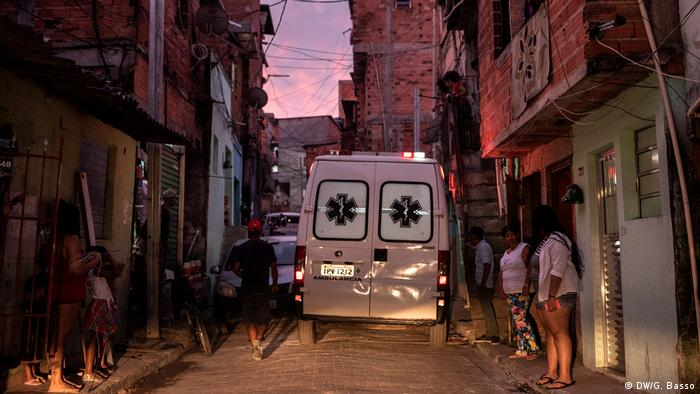 An ambulance in the Paraisopolis slum in Sao Paulo