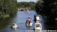 Several boats on a river in Mecklenburg Western Pomerania
