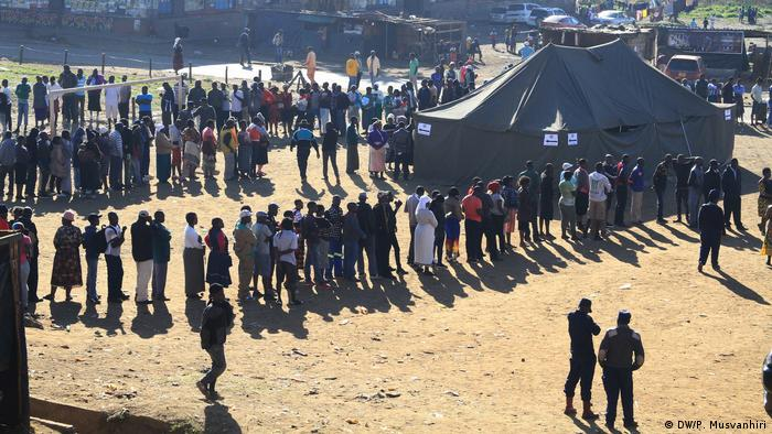 People line up to vote in Zimbabwe's elections