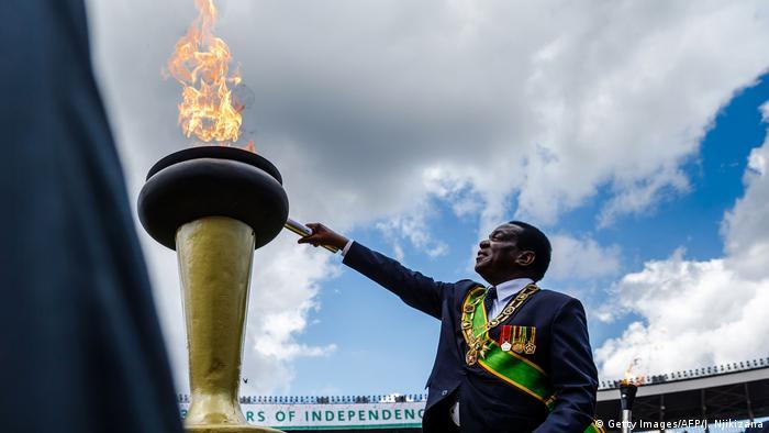 Emmerson Mnangagwa lighting Zimbabwe's Eternal Flame of Freedom
