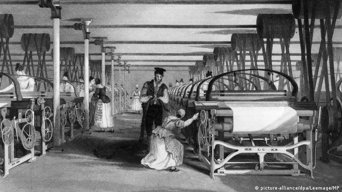 Ткацкие станки Картрайта на фабрике. 1835 г.