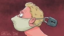 Karikatur von Sergey Elkin   Maskenpflicht und Quarantäne - Leben in Zeiten von COVID-19