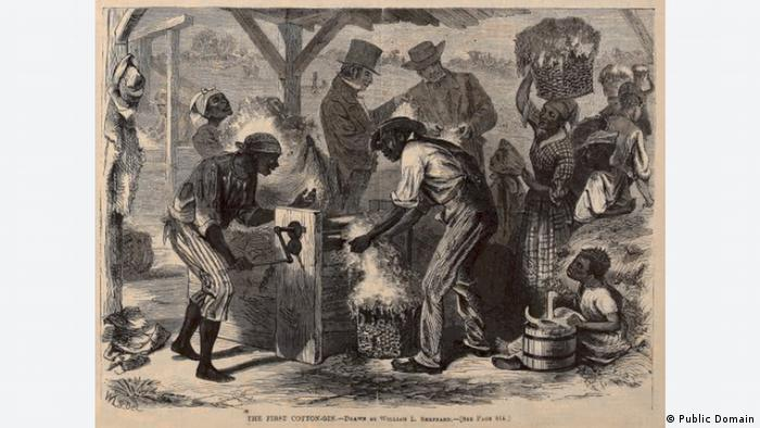 Невольники обрабатывают хлопок. Рисунок 1869 г.