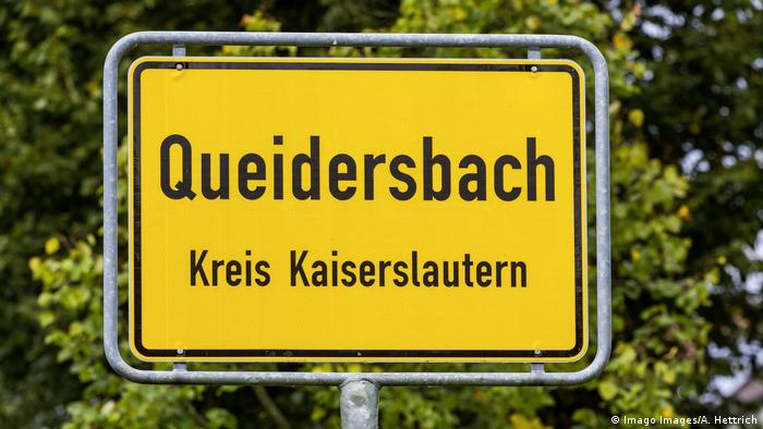 The road sign entering the Queidersbach town in Germany, near Kaiserslautern, picture in 2018.