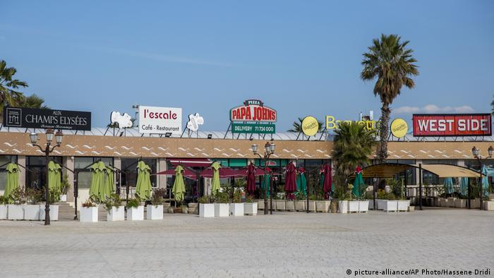 A usually lively street is empty during the coronavirus pandemic, in Tunis, Tunisia, in April 2020