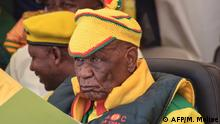 Prime Minister Thomas Thabane looks on during a rally at the Ha Abia constituency in Maseru on March 8, 2020. (Photo by MOLISE MOLISE / AFP)