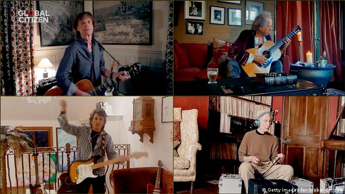 Mick Jagger, Keith Richards, Ronnie Wood and Charlie Watts from The Rolling Stones performed together, but apart, during One World: Together At Home