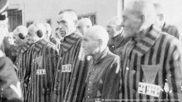 Prisoners stand in line at the Sachsenhausen concentration camp