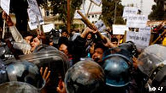 Nepalese journalists protesting in Kathmandu after the murder of a newspaper publisher