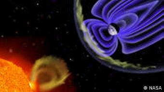 An infographic depicts radiation from the sun interacting with the Earth's magnetic field