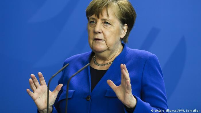 Deutschland Berlin Coronavirus - Pressekonferenz Angela Merkel (picture-alliance/AP/M. Schreiber)