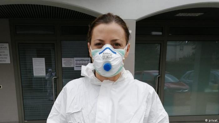 A doctor in Italy wearing protective gear