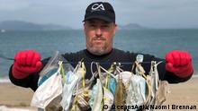 ***ACHTUNG: Bilder nur zur abgesprochenen Berichterstattung verwenden!*** Single-use masks, gloves, and bottles of sanitizer shielding us from the spread of COVID-19 are ending up on the streets, in the seas and among wildlife. via Jennifer Collins Rechte: OceansAsia