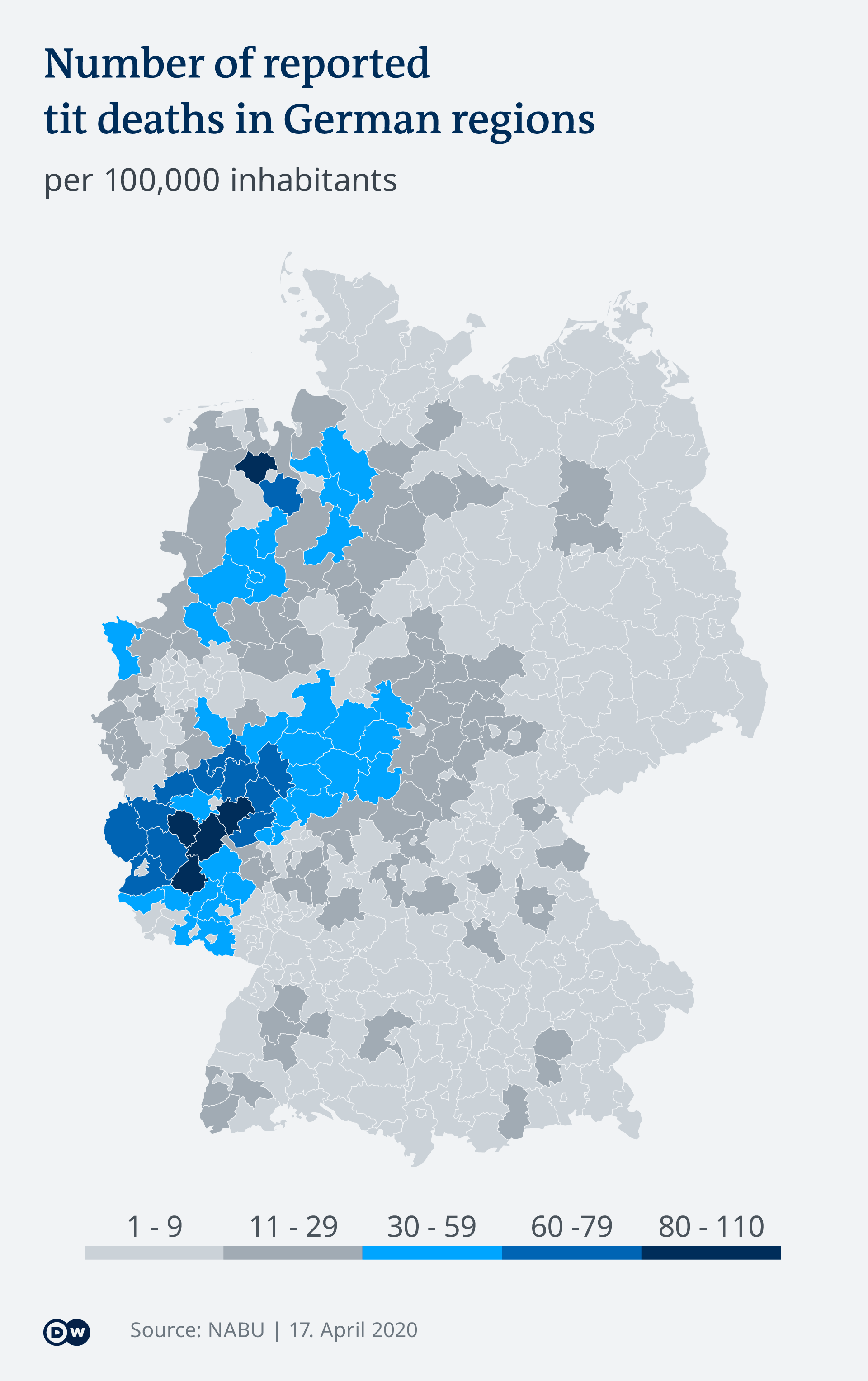 DW graphic showing the number of tit deaths by region in Germany.