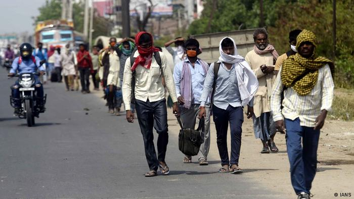 Many migrant workers have been walking home to their villages from major cities after losing their jobs following the nationwide lockdown