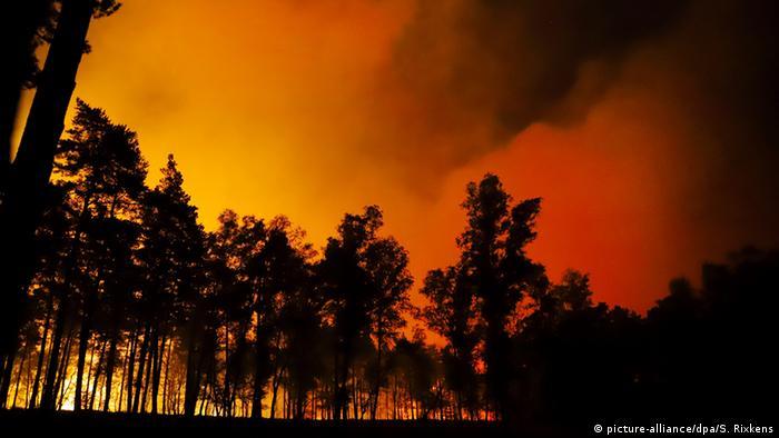 Fire burning near the German-Dutch