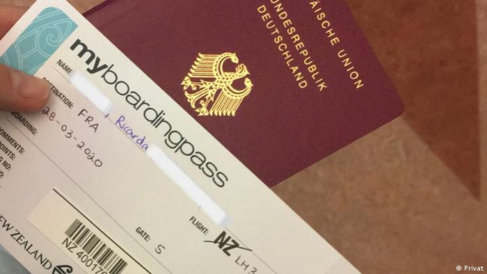 Rückholaktion deutscher Staatsbürger | Ricarda W. auf Lufhansa Flug von Auckland nach Frankfurt (Privat)