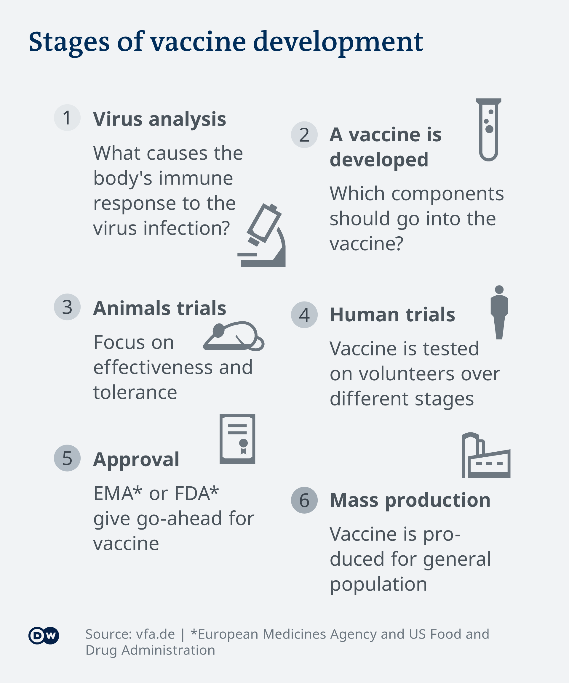 Infographic showing the development process of a vaccine