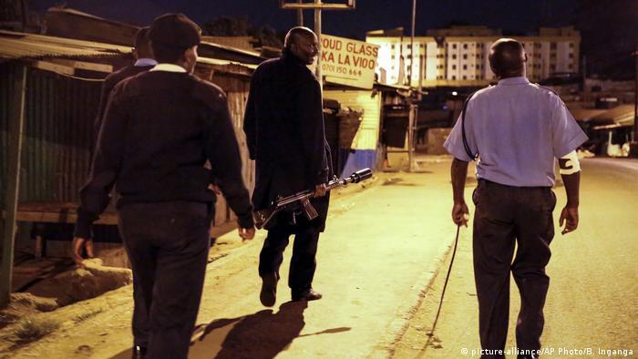 Police on patrol in Kibera, Nairobi